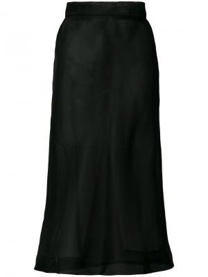 Прозрачная юбка миди Murmur. Цвет: чёрный