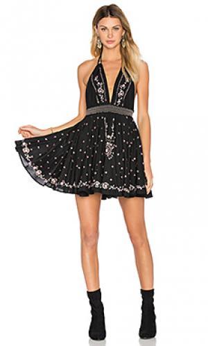 Мини платье на бретельках LoveShackFancy. Цвет: черный