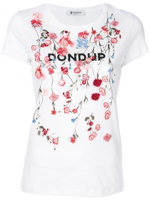 Футболка с цветочной вышивкой Dondup. Цвет: белый