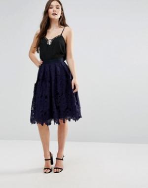 Closet London Кружевная юбка миди. Цвет: синий