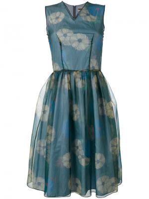Многослойное расклешенное платье Hache. Цвет: синий
