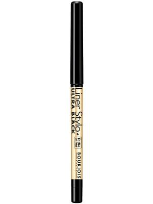 Контурный карандаш с точилкой для макияжа глаз liner stylo, тон 61 ultra black Bourjois. Цвет: черный