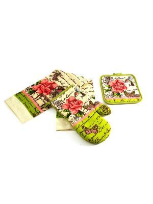 Набор кухонного текстиля: полотенце, прихватка, варежка Русские подарки. Цвет: светло-зеленый, кремовый, розовый