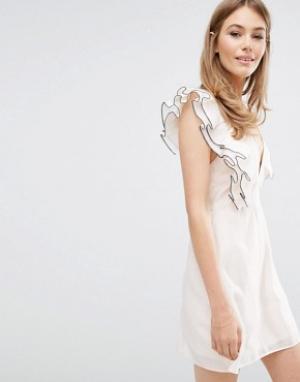Keepsake Платье мини с оборками Remind Me. Цвет: розовый