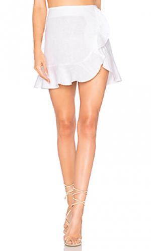Льняная юбка bonita Karina Grimaldi. Цвет: белый