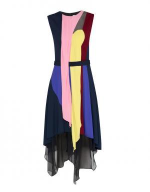 Шелковое платье Peter Pilotto. Цвет: розовый, желтый, черный, синий
