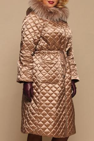 Пуховое пальто NAUMI BABKINA. Цвет: песочный