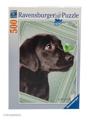 Пазл Счастливый щенок Ravensburger. Цвет: зеленый