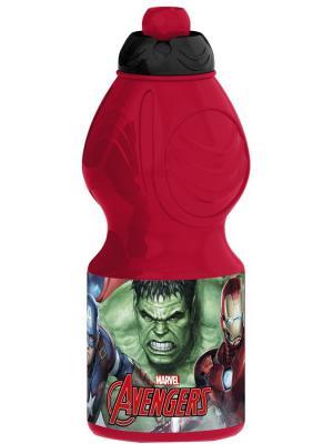 Бутылка пластиковая (спортивная, фигурная, 400 мл). Мстители Галерея Stor. Цвет: красный