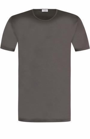 Хлопковая футболка с круглым вырезом Zimmerli. Цвет: серый