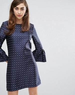 Sister jane Платье с броскими рукавами. Цвет: темно-синий