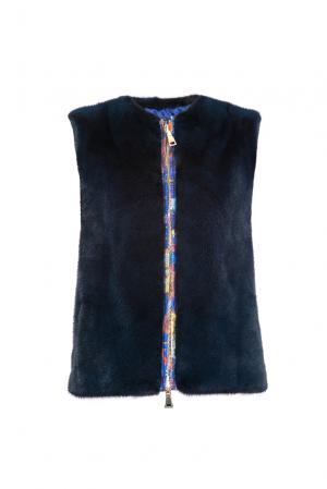 Жилет с норковой отделкой 154902 Pt Quality Furs. Цвет: синий
