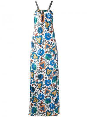 Длинное платье с цветочным принтом Oscar de la Renta. Цвет: белый
