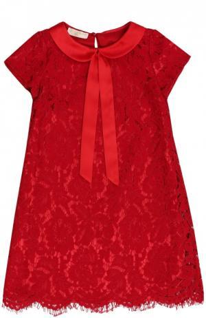 Кружевное платье А-силуэта Monnalisa. Цвет: красный