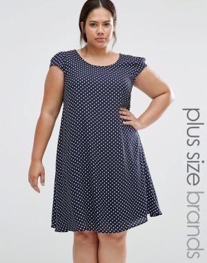 Praslin Свободное платье в горошек Plus. Цвет: темно-синий
