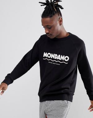 Wood Свитшот с большим логотипом Mondano. Цвет: черный