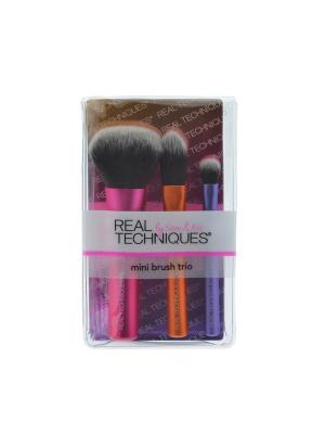 Real Techniques Набор мини кистей Mini Brush Trio. Цвет: розовый, белый, золотистый, сиреневый, черный