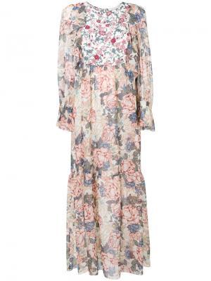 Длинное платье с цветочным принтом See By Chloé. Цвет: телесный