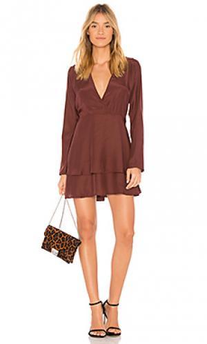 Платье ruffle adeline SIR the label. Цвет: красное вино