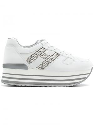 Кроссовки на платформе Hogan. Цвет: белый