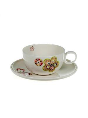 Чашка 300мл с блюдцем Сезон цветения Royal Porcelain. Цвет: молочный