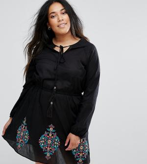 Diya Короткое приталенное платье с вышивкой. Цвет: черный