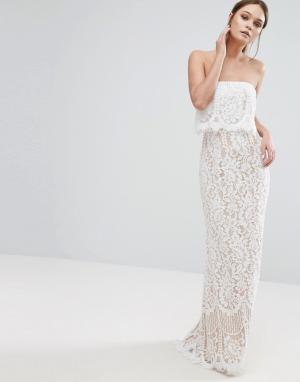 Jarlo Кружевное платье-бандо макси с юбкой-годе. Цвет: кремовый
