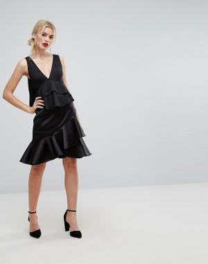 Closet London Премиум-юбка с асимметричной оборкой. Цвет: черный