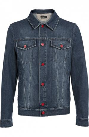 Джинсовая куртка с контрастными пуговицами Kiton. Цвет: темно-синий