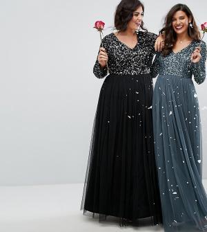Maya Plus Платье макси с длинными рукавами, пайетками и юбкой из тюля. Цвет: черный