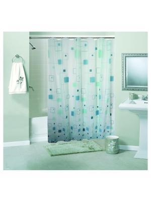 Штора для ванной комнаты 180х180см, Мозаика зеленая, PEVA NIKLEN. Цвет: зеленый