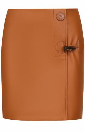 Кожаная мини-юбка с декоративной отделкой Acne Studios. Цвет: коричневый