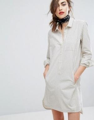 People Tree Oversize платье-рубашка в мелкую полоску. Цвет: серый