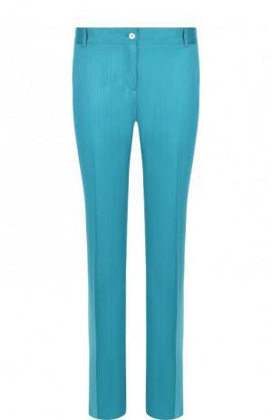 Однотонные брюки прямого кроя со стрелками Kiton. Цвет: бирюзовый
