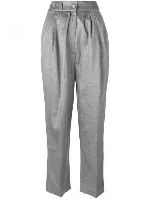 Укороченные брюки Daniele Carlotta. Цвет: металлический