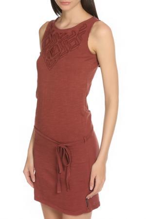 Принтованное летнее платье с поясом Scotch&Soda. Цвет: burgundy, бордовый