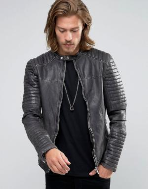 Goosecraft Черная кожаная байкерская куртка со стегаными рукавами. Цвет: черный