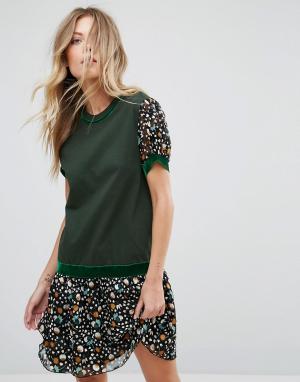 Anna Sui Трикотажное платье с заниженной талией и принтом. Цвет: зеленый