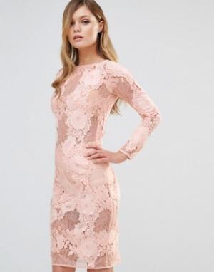 Dark Pink Кружевное платье миди с длинными рукавами. Цвет: розовый