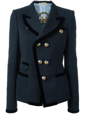 Двубортный пиджак Balenciaga Vintage. Цвет: синий