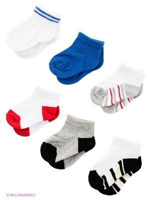 Носки, 6 пар Luvable Friends. Цвет: синий, серый, красный, белый