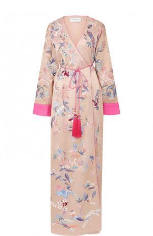 Шелковое пальто с поясом и вышивкой Zuhair Murad. Цвет: розовый