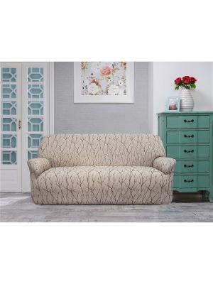 Еврочехол на 3-ех местный диван Ванесса Каштан. Цвет: коричневый, светло-коричневый