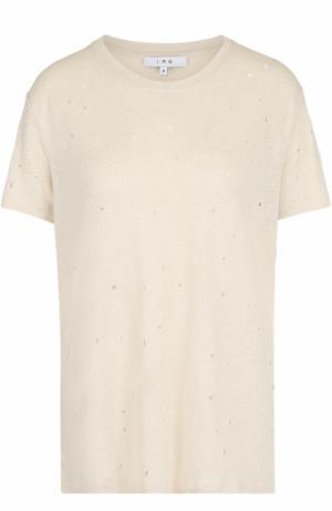 Льняная футболка с круглым вырезом Iro. Цвет: кремовый