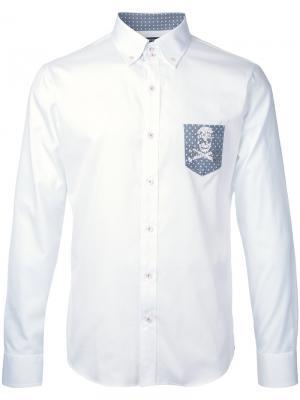 Рубашка с контрастным карманом Loveless. Цвет: белый