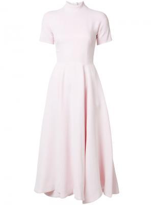 Расклешенное платье с короткими рукавами Emilia Wickstead. Цвет: розовый и фиолетовый