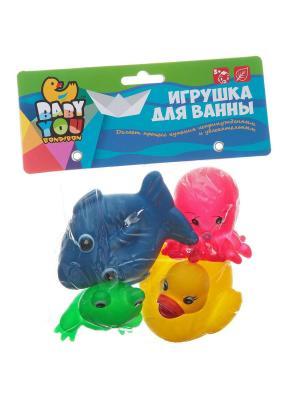 Игровой набор для купания BONDIBON. Цвет: зеленый, оранжевый, розовый, желтый, синий
