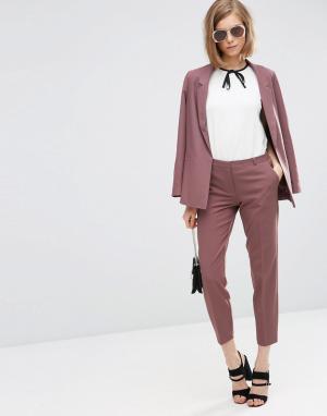 ASOS Укороченные креповые брюки-сигареты. Цвет: фиолетовый