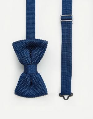 7X Темно-синий вязаный галстук-бабочка в футляре. Цвет: темно-синий