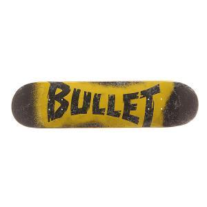 Дека для скейтборда  S6 Sprayed Black 30.7 x 7.8 (19.8 см) Bullet. Цвет: черный,серый,желтый